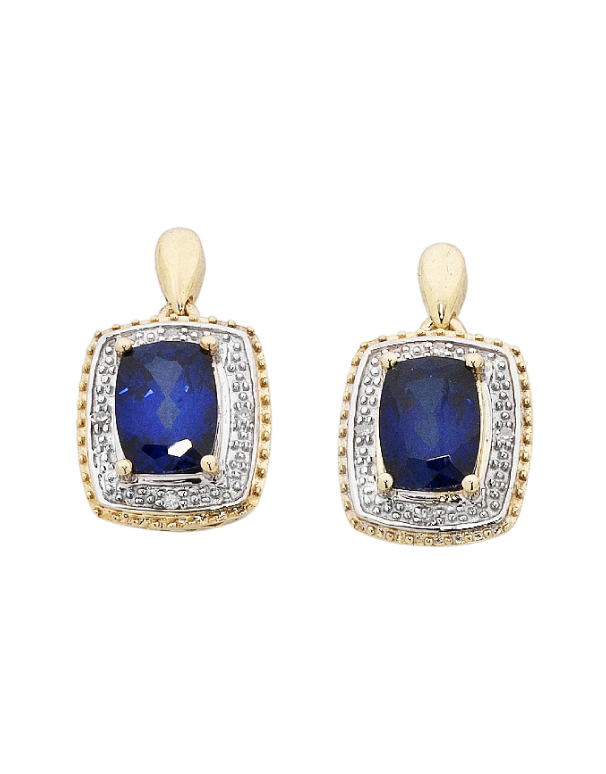 Sapphire Earrings - 9ct Yellow Gold Sapphire and Diamond Earrings - 754071 - Salera's Melbourne, Victoria and Brisbane, Queensland Australia