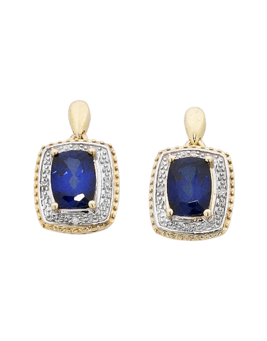 Sapphire Earrings - 9ct Yellow Gold Sapphire and Diamond Earrings - 754071
