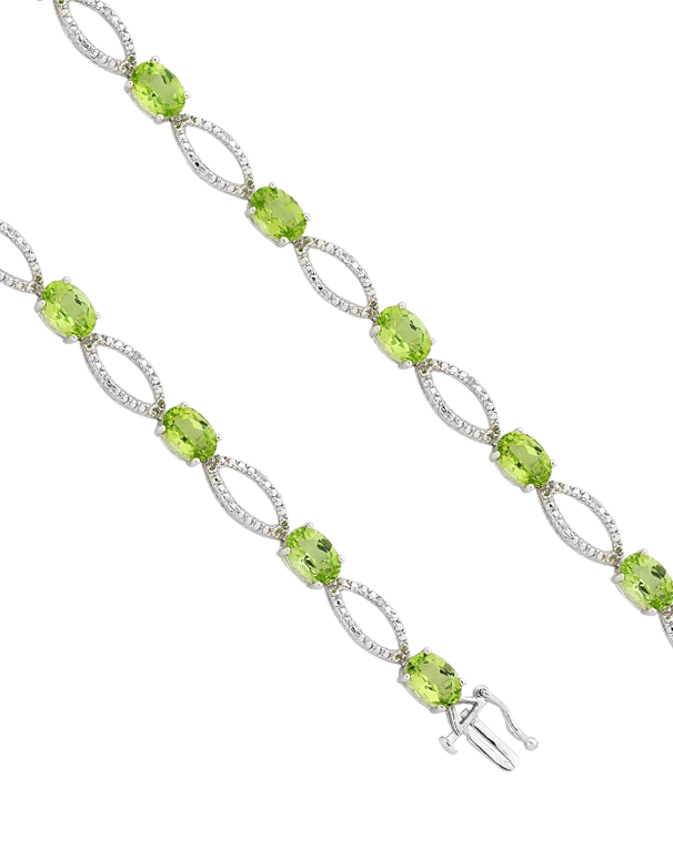 Peridot Bracelet - White Gold Peridot and Diamond Bracelet - 755059 - Salera's Melbourne, Victoria and Brisbane, Queensland Australia