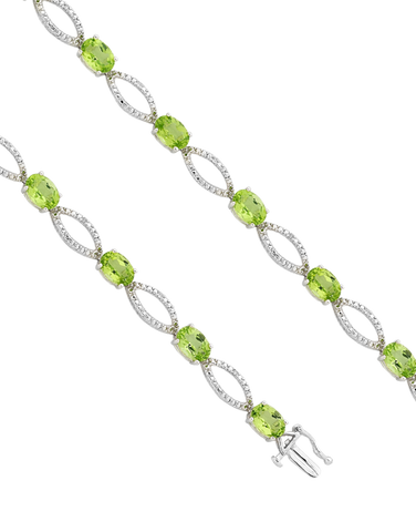 Peridot Bracelet - White Gold Peridot and Diamond Bracelet - 755059