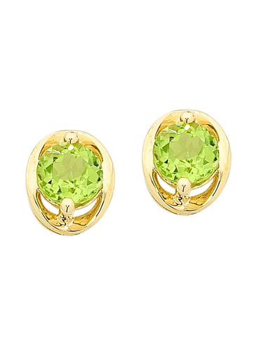 Peridot Earrings - Yellow Gold Peridot Stud Earrings - 756502