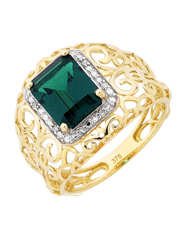 Emerald Ring - 9ct Yellow Gold Emerald and Diamond Ring - 754083 - Salera's