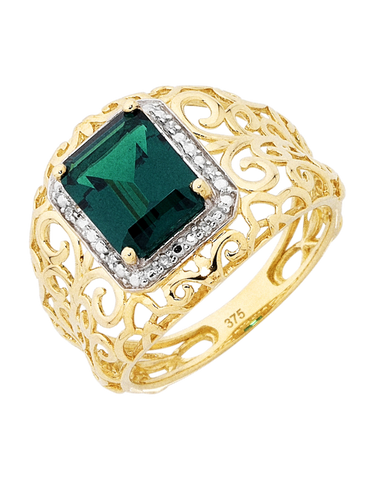 Emerald Ring - 9ct Yellow Gold Emerald and Diamond Ring - 754083