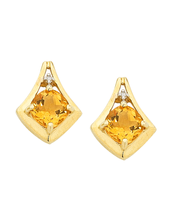 Citrine Earrings - Yellow Gold Citrine and Diamond Earrings - 754281 - Salera's Melbourne, Victoria and Brisbane, Queensland Australia
