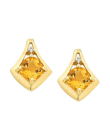 Citrine Earrings - Yellow Gold Citrine and Diamond Earrings - 754281