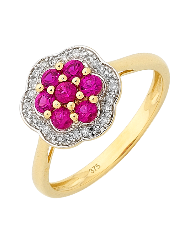 Ruby Ring - Yellow Gold Ruby and Diamond Ring - 756492 - Salera's