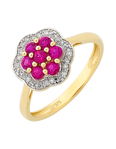 Ruby Ring - Yellow Gold Ruby and Diamond Ring - 756492