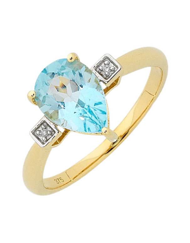 Blue Topaz Ring - Yellow Gold Blue Topaz and Diamond Ring - 756497 - Salera's Melbourne, Victoria and Brisbane, Queensland Australia