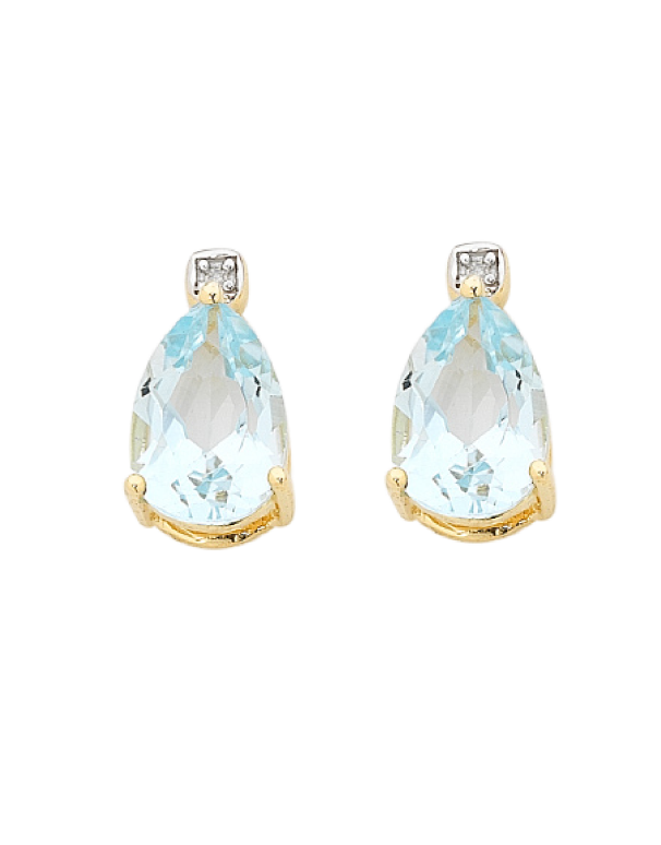Blue Topaz Earrings - Yellow Gold Blue Topaz and Diamond Earrings - 756499 - Salera's Melbourne, Victoria and Brisbane, Queensland Australia