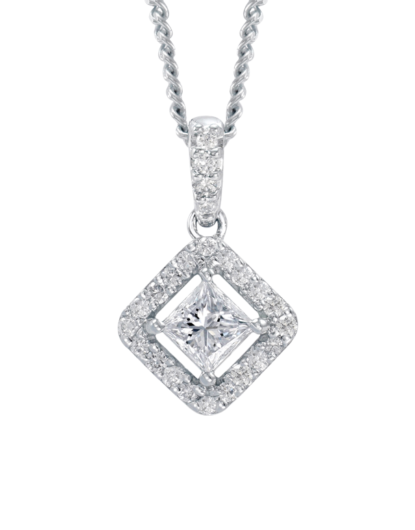 Rand - White Gold Diamond Halo Pendant - R19071W - Salera's Melbourne, Victoria and Brisbane, Queensland Australia