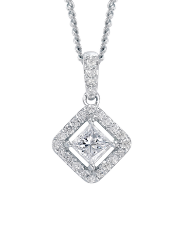 Rand - White Gold Diamond Halo Pendant - R19071W