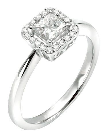 Rand - White Gold Princess Cut Diamond Engagement Ring - R20868W