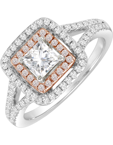Rand - White Gold Princess Cut Diamond Engagement Ring With Pink Diamonds - R31243FP