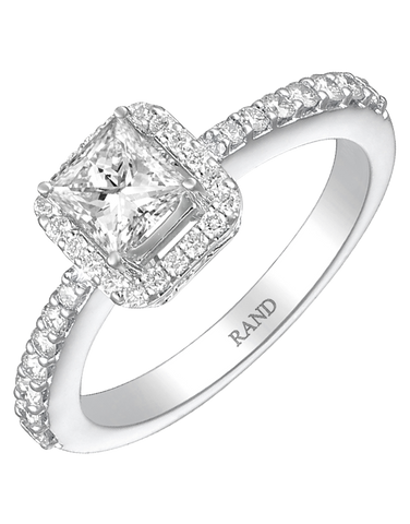 Rand - White Gold Princess Cut Diamond Engagement Ring - R32672W