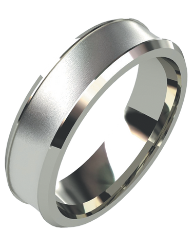 Wedding Band - Men's White Gold Dual Finish Wedding Band - 754973