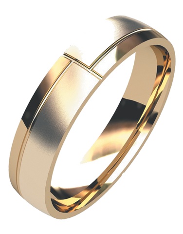 Wedding Band - Men's Yellow Gold Styled Wedding Band - 754968