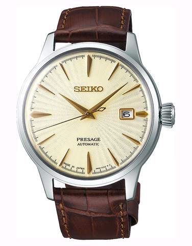 Seiko - Gents Presage Automatic Champagne Dial Brown Leather Band Watch - SRPC99J