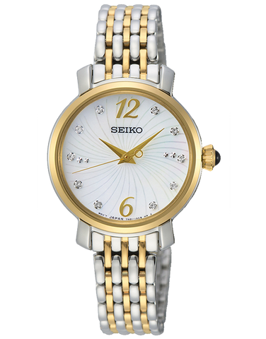 Seiko - Ladies Dress Mother Of Pearl Dial Silver/Gold Bracelet Band Watch - SRZ522P