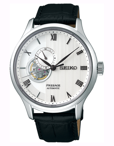 Seiko - Gents Presage Automatic White Dial Black Leather Band Watch - SSA379J