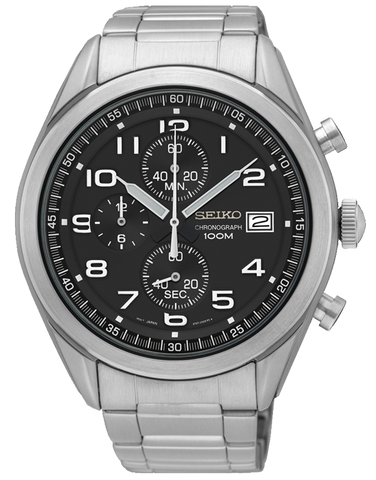 Seiko Watch - Men's Black Dial Stainless Steel Chronograph - SSB269P1