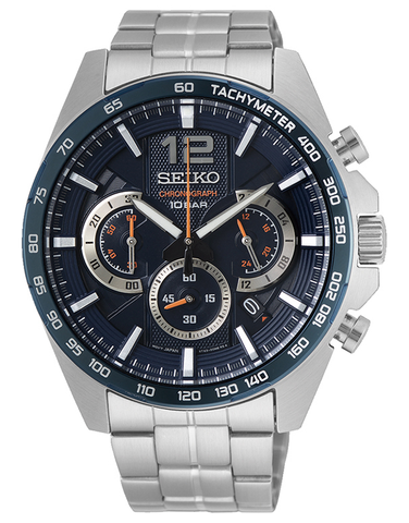 Seiko - Gents Chronograph Stainless Steel Blue Dial Orange Highlight Watch - SSB345P