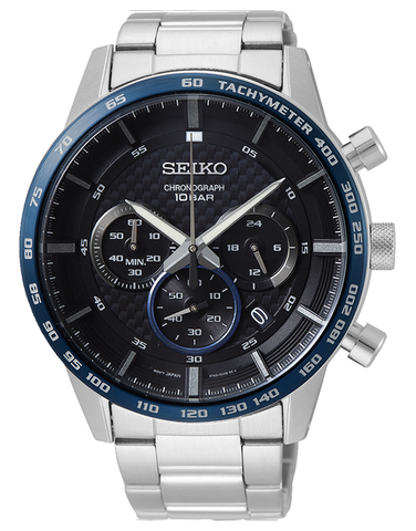 Seiko - Gents Chronograph Stainless Steel Case & Bracelet Black Dial Watch - SSB357P