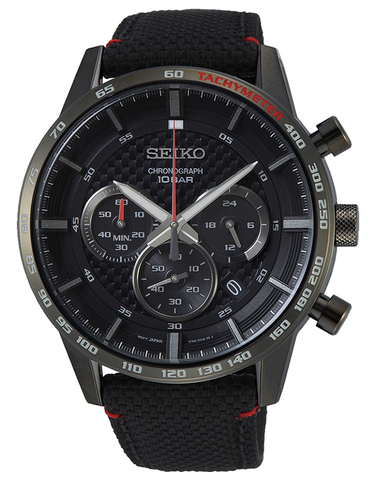Seiko - Gents Chronograph Black Case Fabric Band Watch - SSB359P