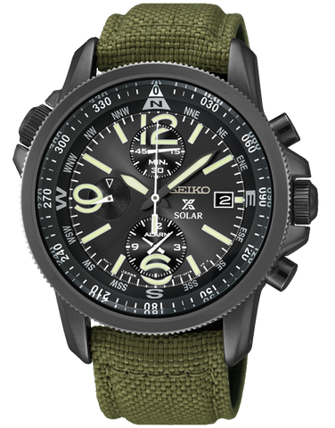 Seiko - Prospex Solar Military Alarm Chronograph Watch - SSC295P1