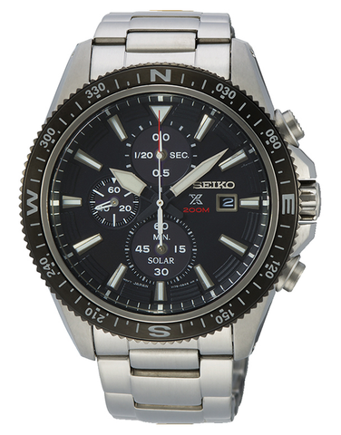 Seiko - Mens Prospex Chronograph Solar Hard Coating Case Black Dial Silver Bracelet Band 200m Water Resistant - SSC705P