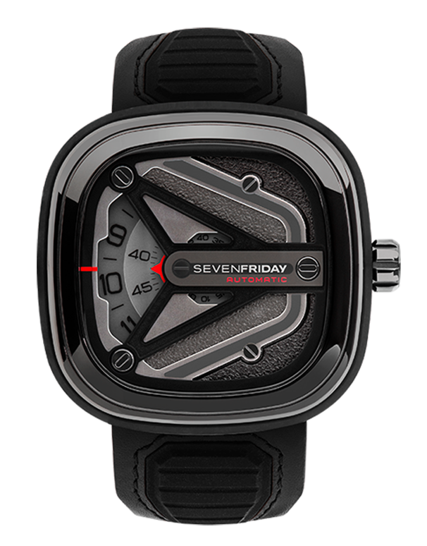 SevenFriday M3/01 - Men's M-Series Stainless Steel PVD Gun Metal Case Black Leather & Silicone Band Automatic Watch - M3/01 - 766985