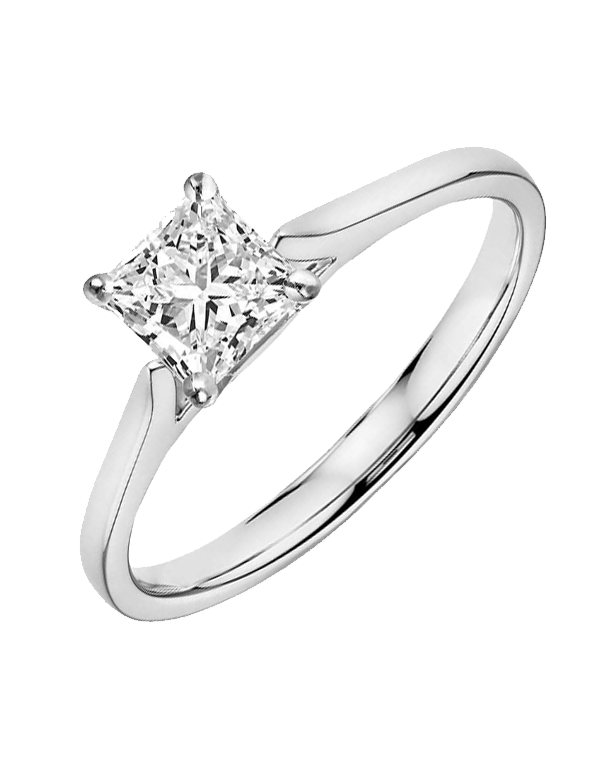 Diamond Ring - 0.70ct Princess Cut Solitaire Engagement Ring - Salera's