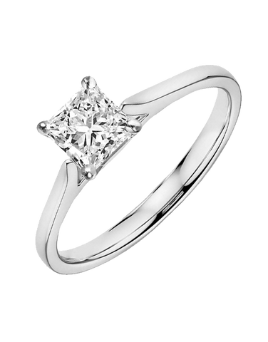 Diamond Ring - 0.70ct Princess Cut Solitaire Engagement Ring