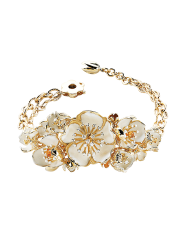 Roberto Bravo - 14ct Yellow Gold Diamond Gemstones & White Enamel Bracelet - 771267
