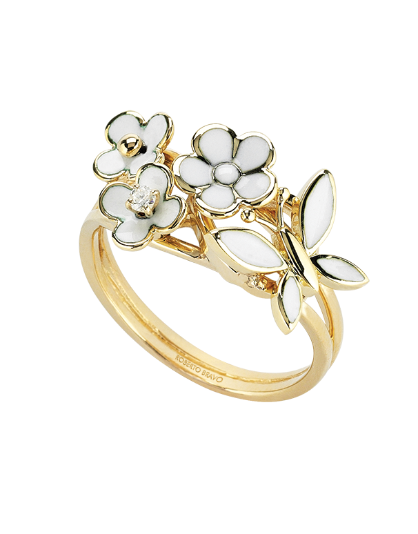 Roberto Bravo - 14ct Yellow Gold Diamond & White Enamel Ring - 771275 - Salera's