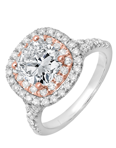 Diamond Ring - White and Rose Gold Diamond Ring - 756348
