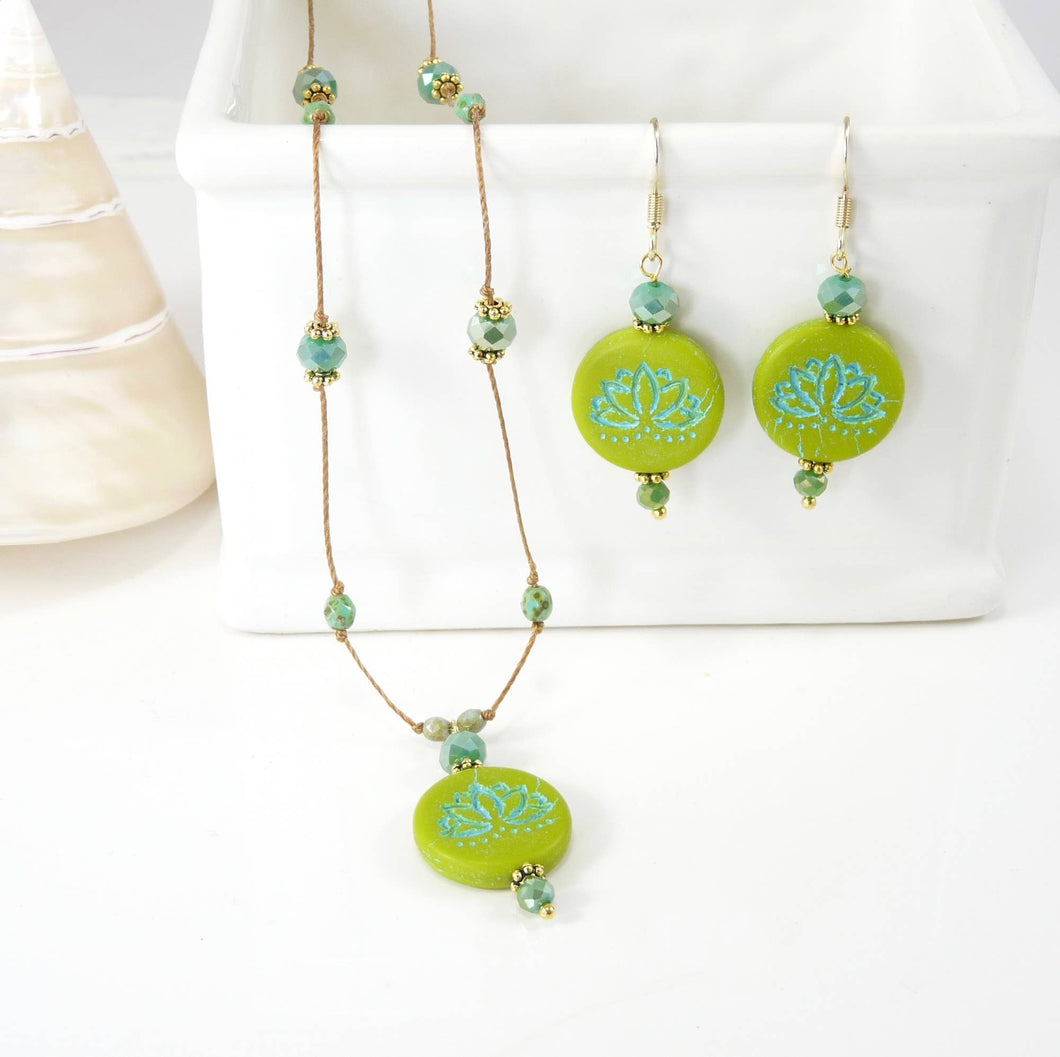 Lotus Necklace and Earring Set - Green