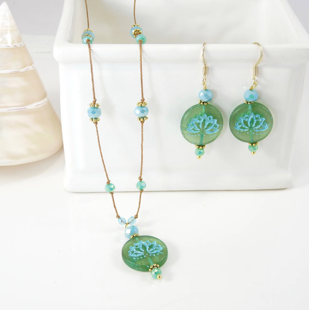 Lotus Necklace and Earring Set - Aqua