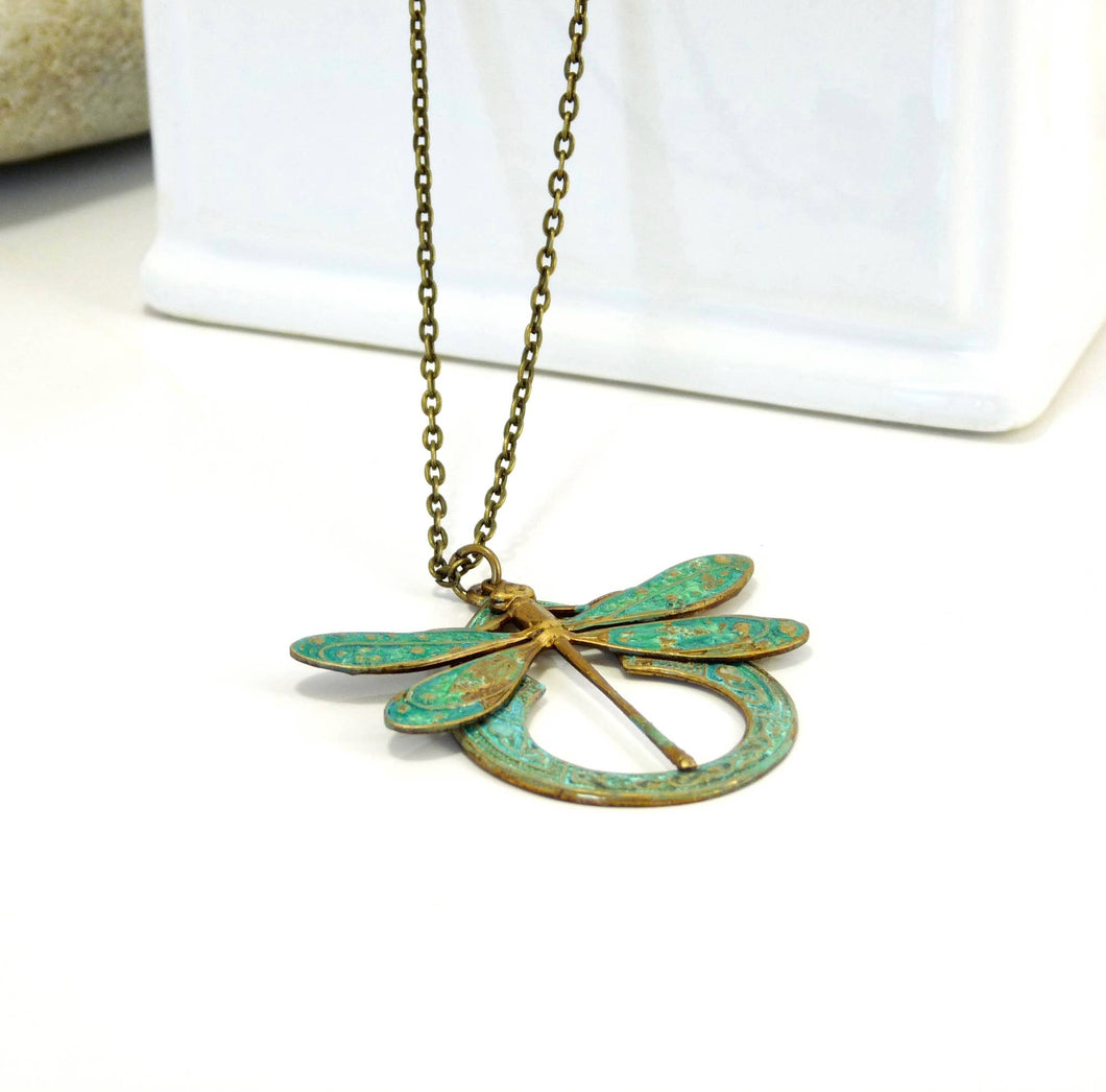 Brass Necklace Large Dragonfly