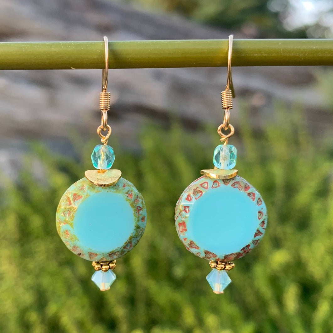 Mayan Czech Glass Earrings
