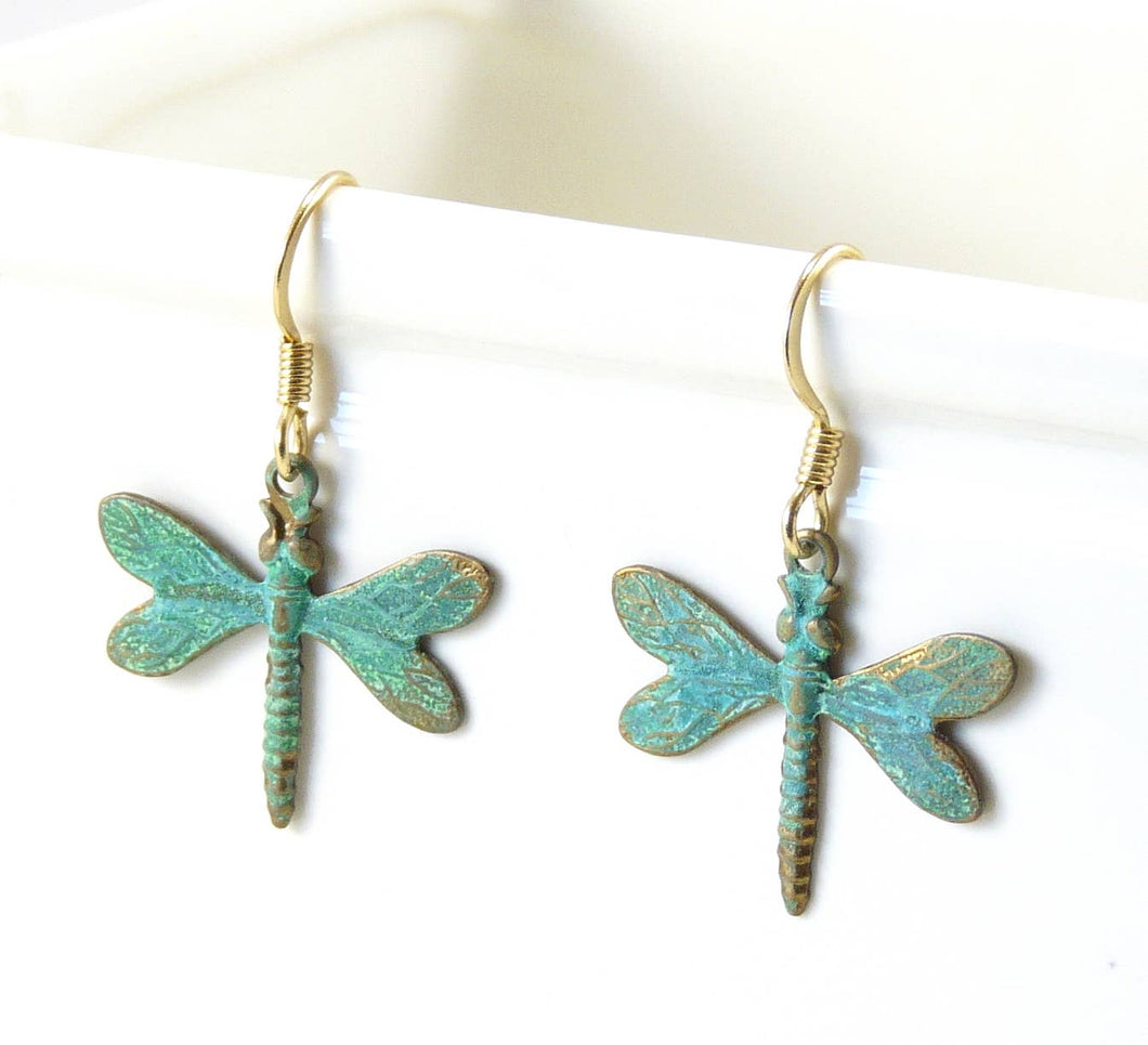 Brass Dragonfly Earrings - Patina