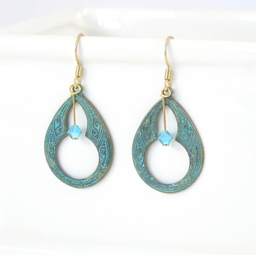 Brass Earrings - Keyhole Patina