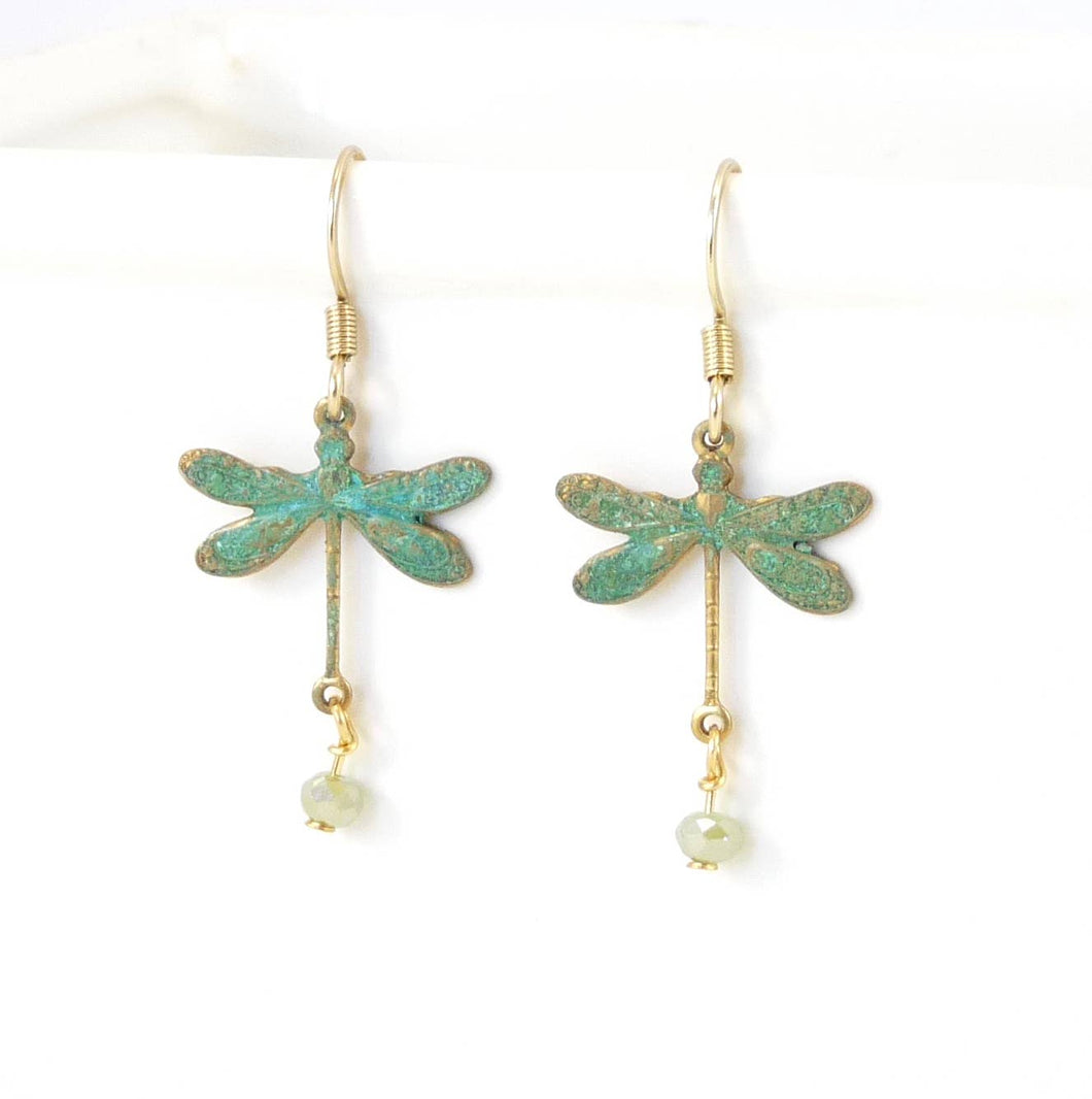 Brass Little Dragonfly Earrings - Patina