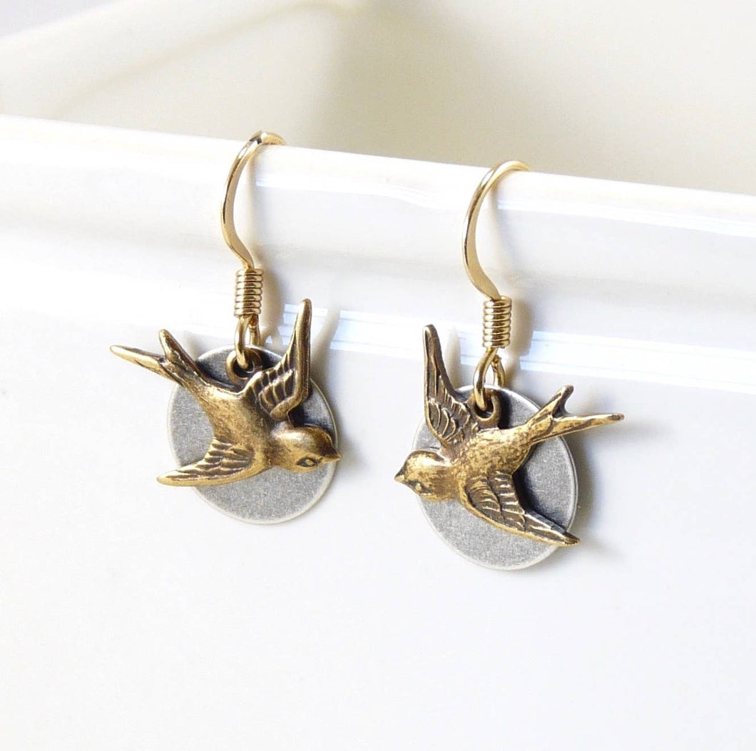 Brass Earrings - Swallow