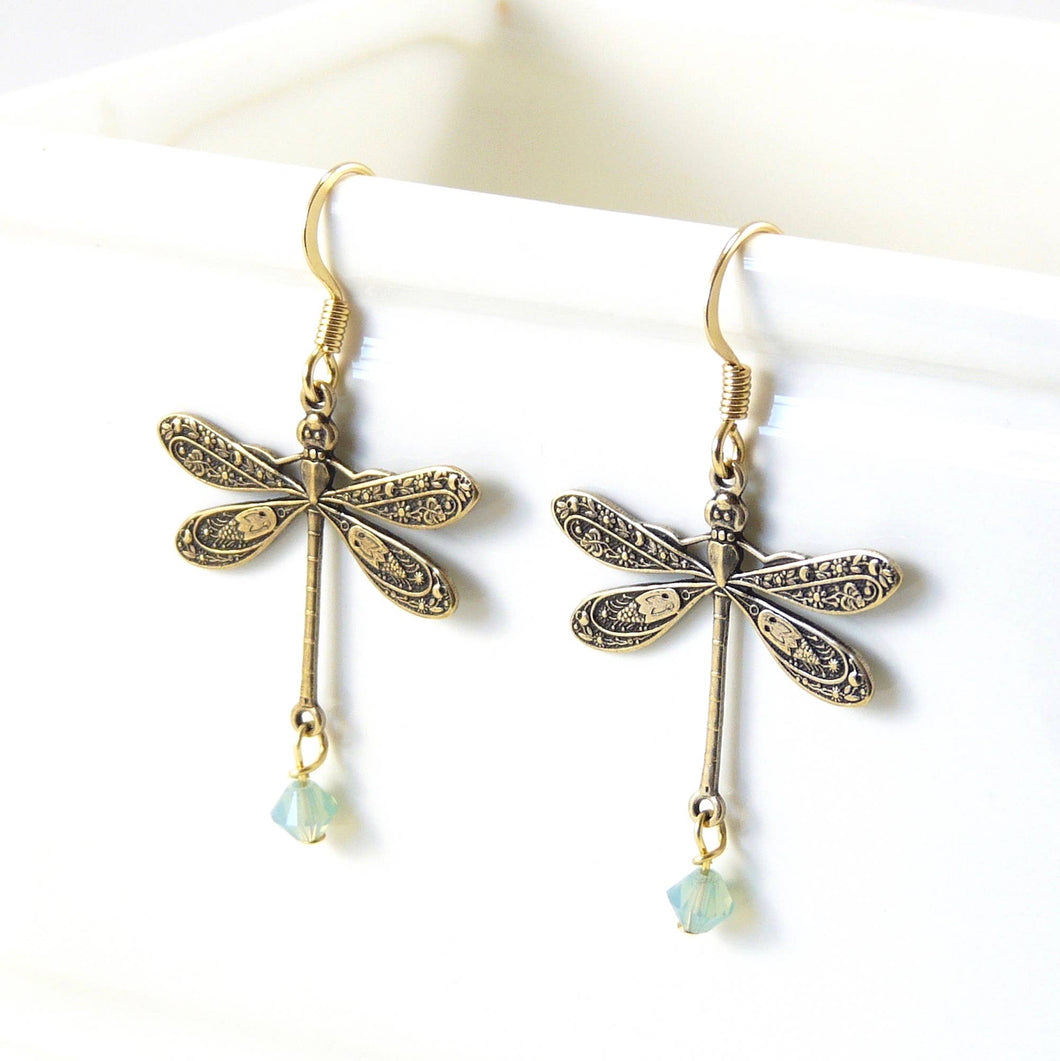 Brass Dragonfly Earrings