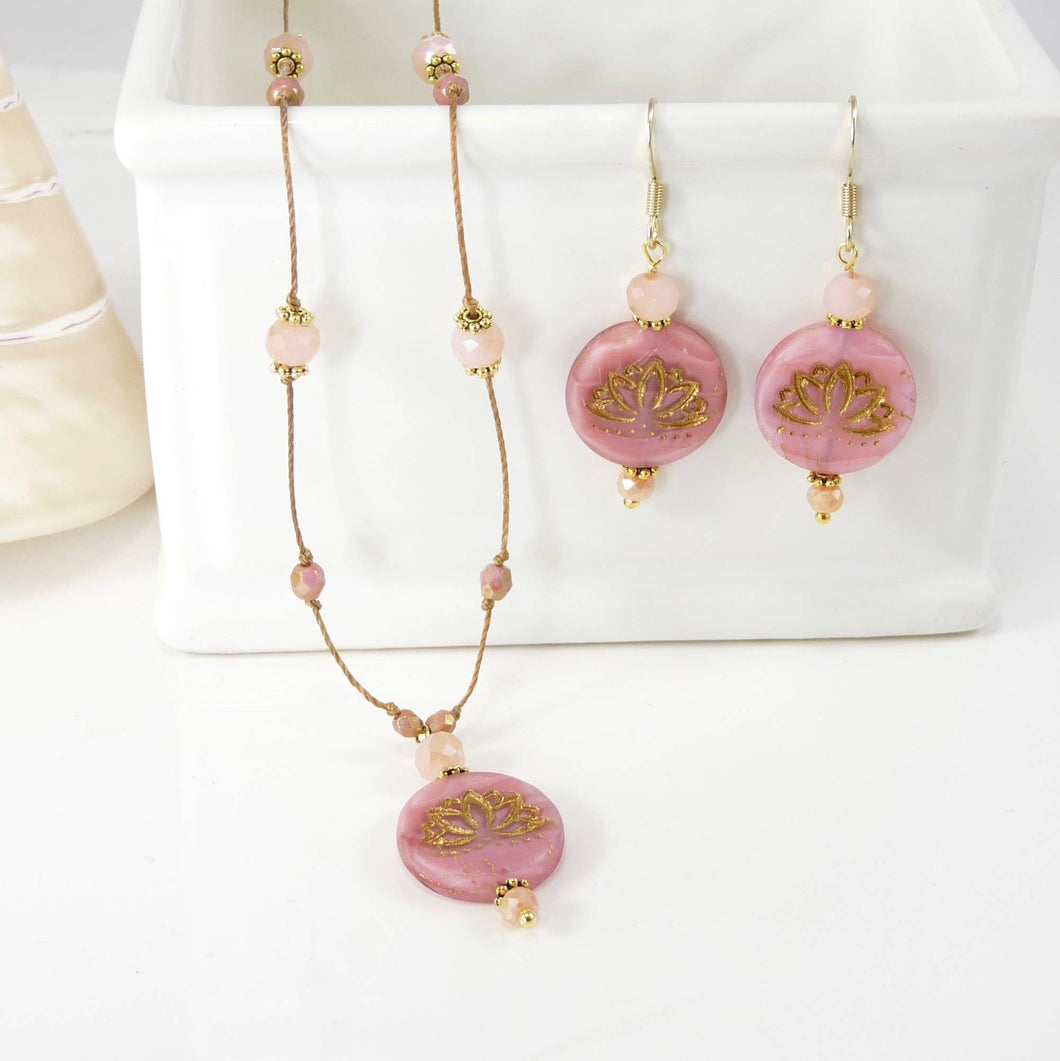 Lotus Necklace and Earring Set - Pink