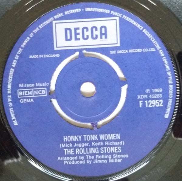 "The Rolling Stones : Honky Tonk Women / You Can't Always Get What You Want (7"", Single)"