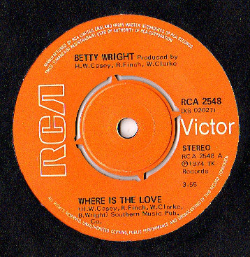 "Betty Wright : Where Is The Love (7"", Single)"
