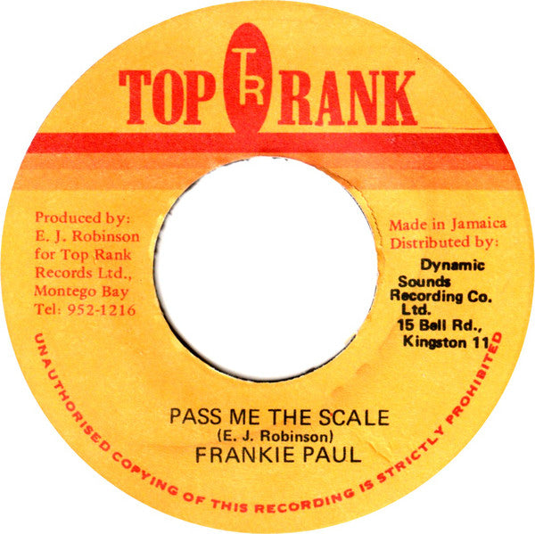 "Frankie Paul : Pass Me The Scale (7"", Single)"