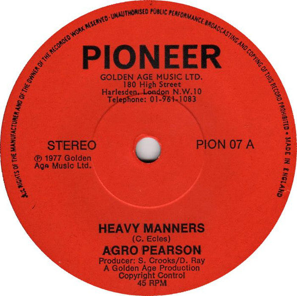 "Agro Pearson : Heavy Manners (7"")"