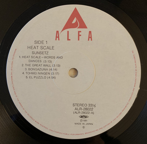 Sunsetz* : Heat Scale (LP, Album, RP, Lig)